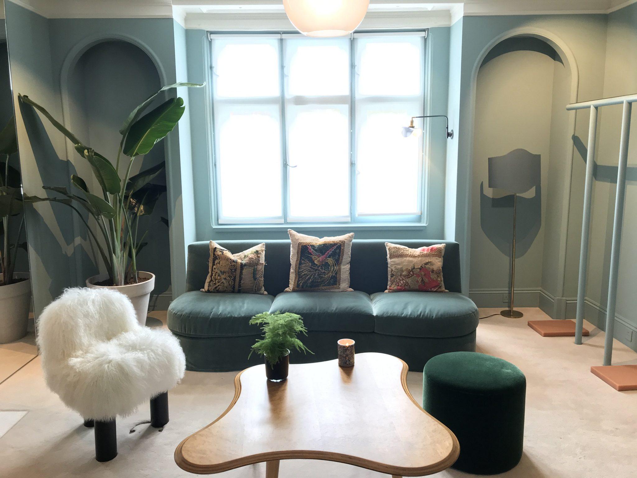 Internal shot of green dressing suite